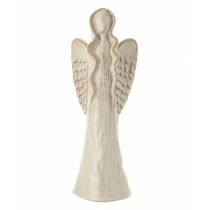 Creative Labs Co-Op Collectibles and Figurines - Medium Cream Glazed Stoneware Angel Statue