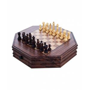 Trademark Games Board Games 180 - Wood Octagonal Chess & Checkers Set