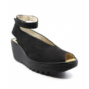 FLY London Women's Sandals 028 - Black Yala Perforated Suede Sandal - Women