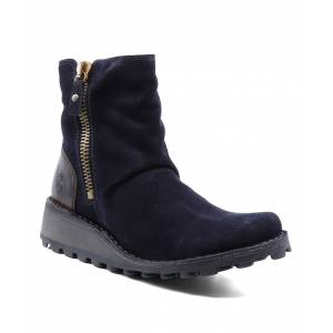 FLY London Women's Casual boots 011 - Navy & Dark Brown Suede Mong Ankle Boot - Women
