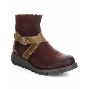FLY London Women's Casual boots 028 - Red & Camel Sake Suede Ankle Boot - Women