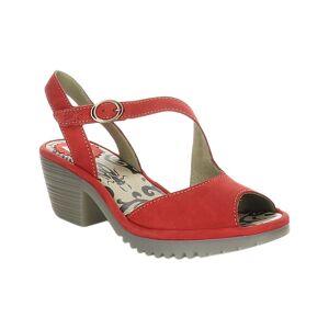 FLY London Women's Sandals 002 - Lipstick Red Wyno Leather Sandal - Women