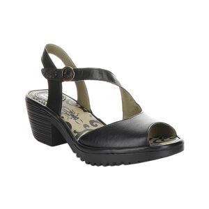 FLY London Women's Sandals 000 - Black Wyno Leather Sandal - Women
