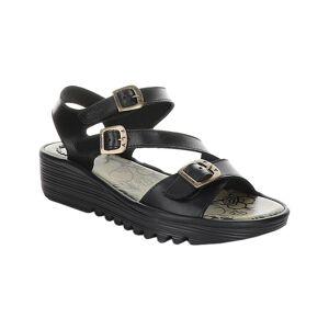 FLY London Women's Sandals 000 - Black Elit Leather Sandal - Women