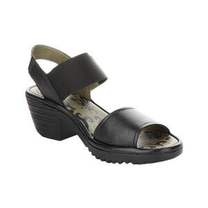 FLY London Women's Sandals 000 - Black Wost Leather Sandal - Women