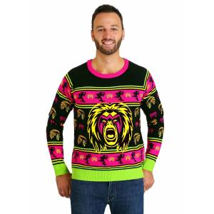 FUN Wear WWE Ultimate Warrior Adult Ugly Christmas Sweater  - Black/Green/Pink - Size: Medium