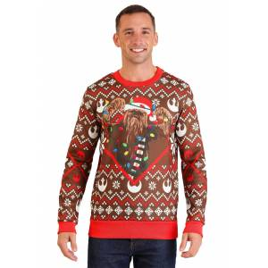 Mad Engine Adult Star Wars Chewbacca Lights Brown/Red Ugly Christmas Sweater  - Brown/Red - Size: Small