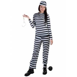FUN Costumes Plus Size Women's Prisoner Costume  - Black/White - Size: 4X