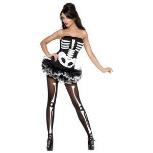 Smiffys Women's Sexy Skeleton Costume  - Black/White - Size: Small