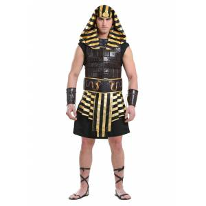 FUN Costumes Men's Ancient Pharaoh Costume  - Black/Orange - Size: Medium