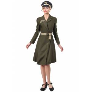 FUN Costumes Plus Size Bombshell Military Captain Costume for Women  - Brown/Green - Size: 1X