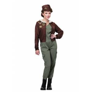 FUN Costumes Vintage Flight Officer Costume for Women  - Brown/Green - Size: Small