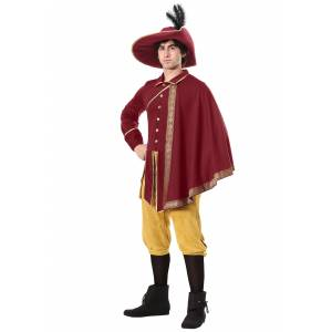 FUN Costumes Noble Man Renaissance Costume for Adults  - Orange/Red - Size: Medium
