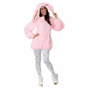 FUN Costumes Women's Plus Size Fuzzy Pink Bunny Costume  - Orange/Pink/White - Size: 1X