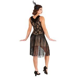 FUN Costumes Speakeasy Flapper Costume for Women  - Black/Beige - Size: Medium