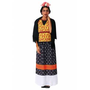 FUN Costumes Women's Frida Kahlo Costume Dress  - Black/Orange/Yellow - Size: Medium
