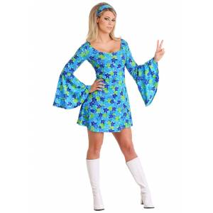 FUN Costumes Wild Flower 70's Hippie Dress Costume for Women   Hairspray Costume  - Green/Blue - Size: Small