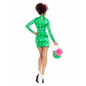 Party King Sexy Cactus Costume for Women  - Green/White - Size: Medium