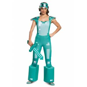 Disguise Minecraft Female Armor Costume  - Blue/White - Size: Large