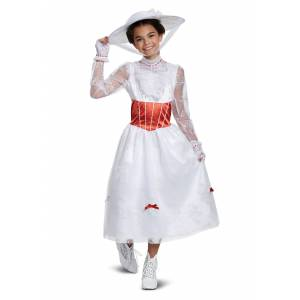 Disguise Deluxe Girl's Mary Poppins Costume  - Red/White - Size: 10/12
