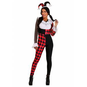 FUN Costumes Chiffon Harlequin Costume for Women  - Black/Red/White - Size: Extra Small