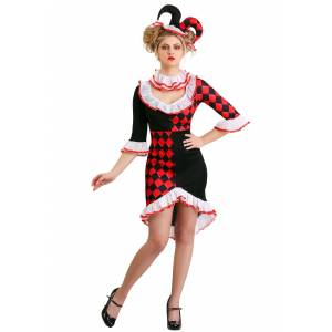 FUN Costumes Haute Harlequin Women's Costume  - Black/Red/White - Size: Extra Large