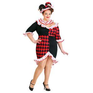 FUN Costumes Women's Plus Size Haute Harlequin Costume  - Black/Red/White - Size: 1X