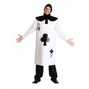 FUN Costumes Ace of Clubs Card Costume  - White - Size: One Size