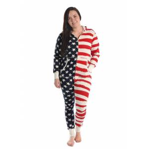 Lazy One Womens Hooded Stars and Stripes Onesie  - Red/White/Blue - Size: Small