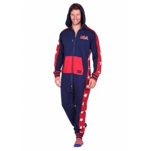 Tipsy Elves Men's Tipsy Elves USA Stars Jumpsuit Costume  - Blue/Red - Size: Extra Small