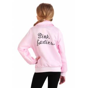 FUN Costumes Grease Pink Ladies Costume Jacket for Girls  - Black/Pink - Size: Medium