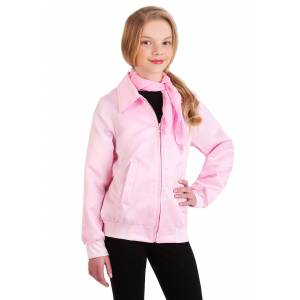 FUN Costumes Grease Pink Ladies Costume Jacket for Girls  - Black/Pink - Size: Small