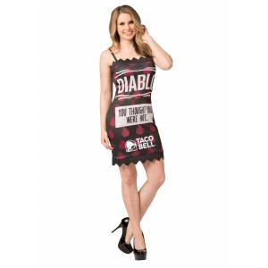 Morris Costumes Women's Taco Bell Diablo Taco Bell Sauce Packet Costume  - Black/Red/White - Size: Small