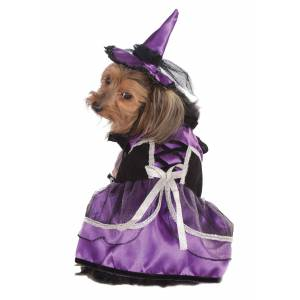 Rubies Costume Co. Inc Purple Witch Costume for Dogs and Cats  - Black/Purple/Gray - Size: Small