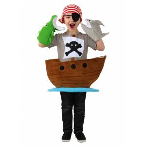 Princess Candy Catcher Pirate Ship Child Costume  - Brown/Gray/Blue - Size: Small