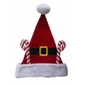 Kurt Adler Fleece Santa Hat with Candy Canes  - Black/Red/White - Size: One Size