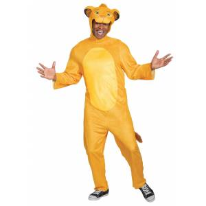 Disguise Limited Adult Lion King Animated Simba Jumpsuit Costume  - Orange - Size: Small