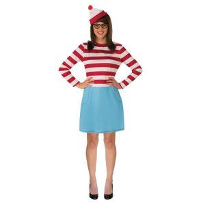 Rubies Costume Co. Inc Adult Where's Waldo Wenda Costume  - Blue/Red/White - Size: Small