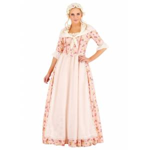 FUN Costumes Colonial Dress Women's Costume  - Pink/White - Size: Large