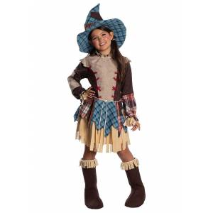 Charades Girls Scarecrow Costume  - Brown/Blue - Size: Small