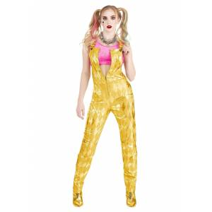 FUN Costumes Women's Harley Quinn Gold Overalls Costume  - Orange/Pink - Size: Large