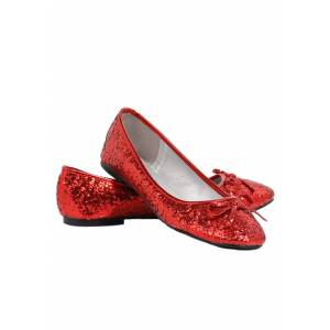 Ellie Women's Red Glitter Flats   Red Sparkly Shoes   Women's Shoes  - Red - Size: 8