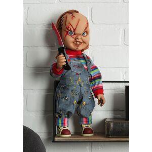 "Mezco Toyz Chucky Scarred 15"" Talking Good Guy Doll  - Red/Blue/Orange - Size: One Size"