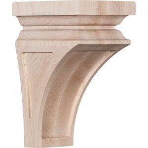 Ekena Millwork CORW03X03X06NERO 3.5 x 3.75 x 6 in. Mini Nevio Wood Corbel, Red Oak