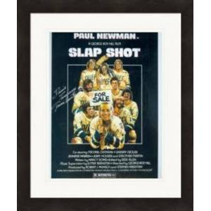 Autograph Warehouse 388075 8 x 10 in. Slap Shot Autographed Photo Dennis Lemieux Chiefs Goaltender Yvone Barrette No. SC4 Matted & Framed