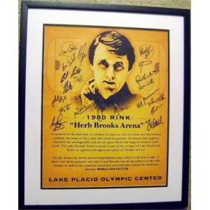 Autograph Warehouse 377493 20 x 24 in. 1980 Hockey Team Signed by the Twenty Players Eruzione Jim Craig Bob Suter-HB1 Framed & Matted Miracle on Ice Photo