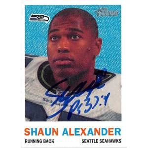 Autograph Warehouse 421628 Shaun Alexander Autographed Football Card Seattle Seahawks 2005 Topps Heritage No.43
