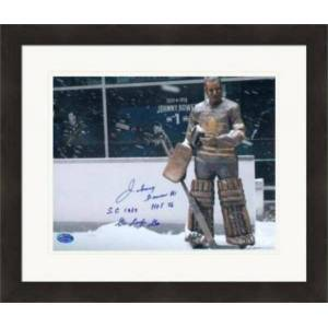 Autograph Warehouse 422274 Johnny Bower Autographed 8 x 10 in. Photo Toronto Maple Leafs Hockey Hall of Fame No.SC4 Inscribed SC 1967 HOF 76 Matted & Framed