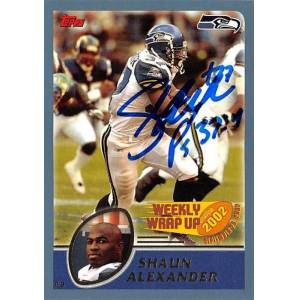Autograph Warehouse 421640 Shaun Alexander Autographed Football Card Seattle Seahawks 2003 Topps No.294