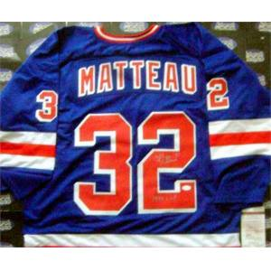 Autograph Warehouse 432685 New York Rangers 1994 Cup JSA Blue Stephane Matteau Autographed Hockey Jersey